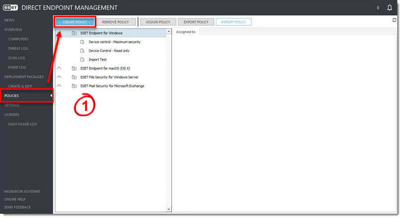 Create a policy to disable license alerts | ESET Direct