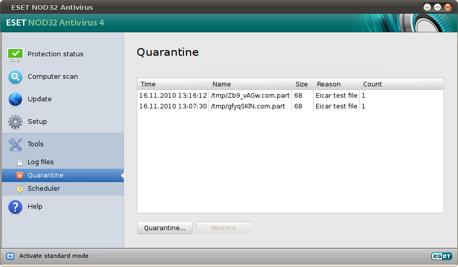 recover files from quarantine