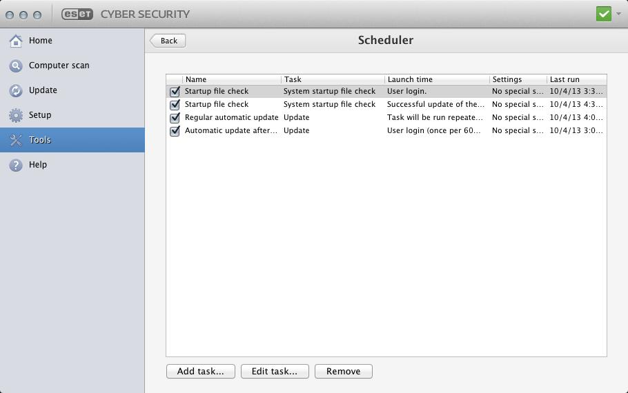 Scheduler | ESET Cyber Security Pro | ESET Online help
