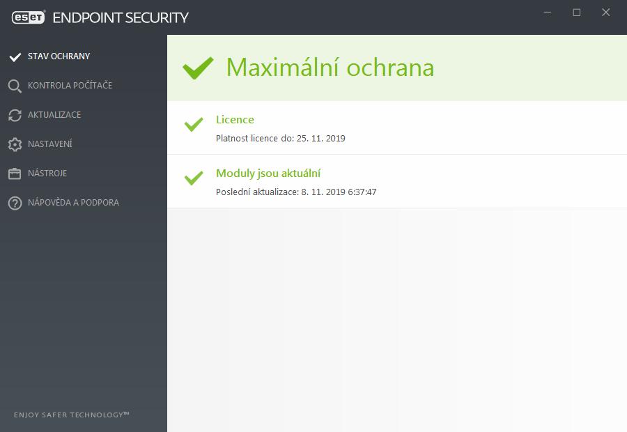 ab92353f79 Na záložce Stav ochrany jsou zobrazeny informace o bezpečnosti a úrovni  ochrany počítače. Zelená ikona a informace Maximální ochrana znamená