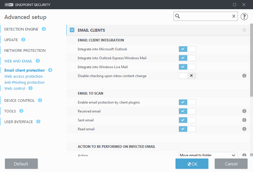 Email client protection   ESET Endpoint Security   ESET