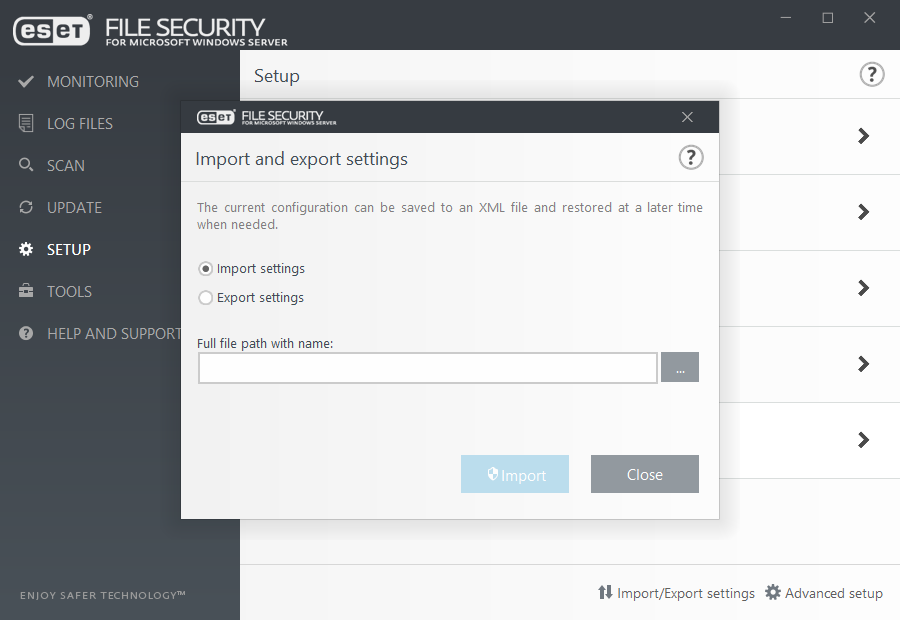 Import and export settings | ESET File Security | ESET