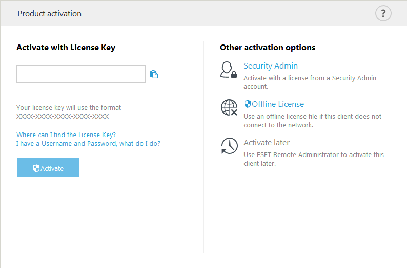 Product activation | ESET Mail Security | ESET Online help