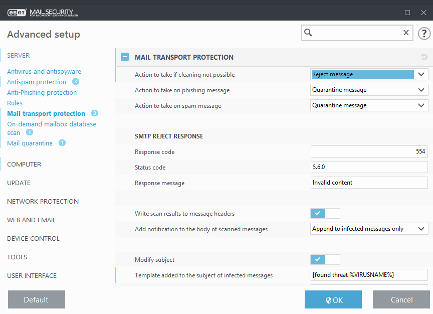 Mail transport protection | ESET Mail Security | ESET Online Help