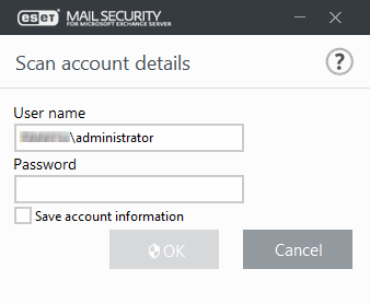 Database scan account details | ESET Mail Security | ESET