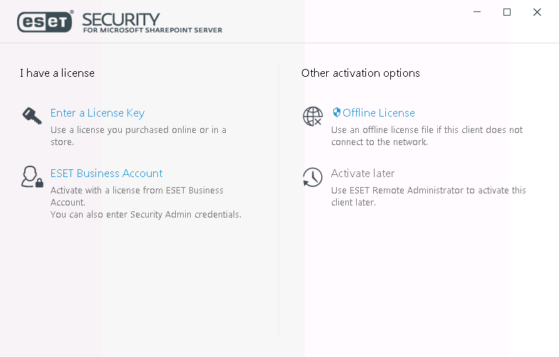 Product activation | ESET Security for Microsoft SharePoint